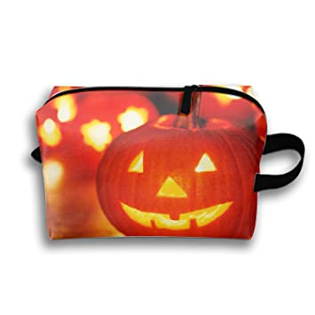 Cosmetic Bags Travel Portable Makeup Pouch Halloween Jack-o-lantern Light Clutch Bag with