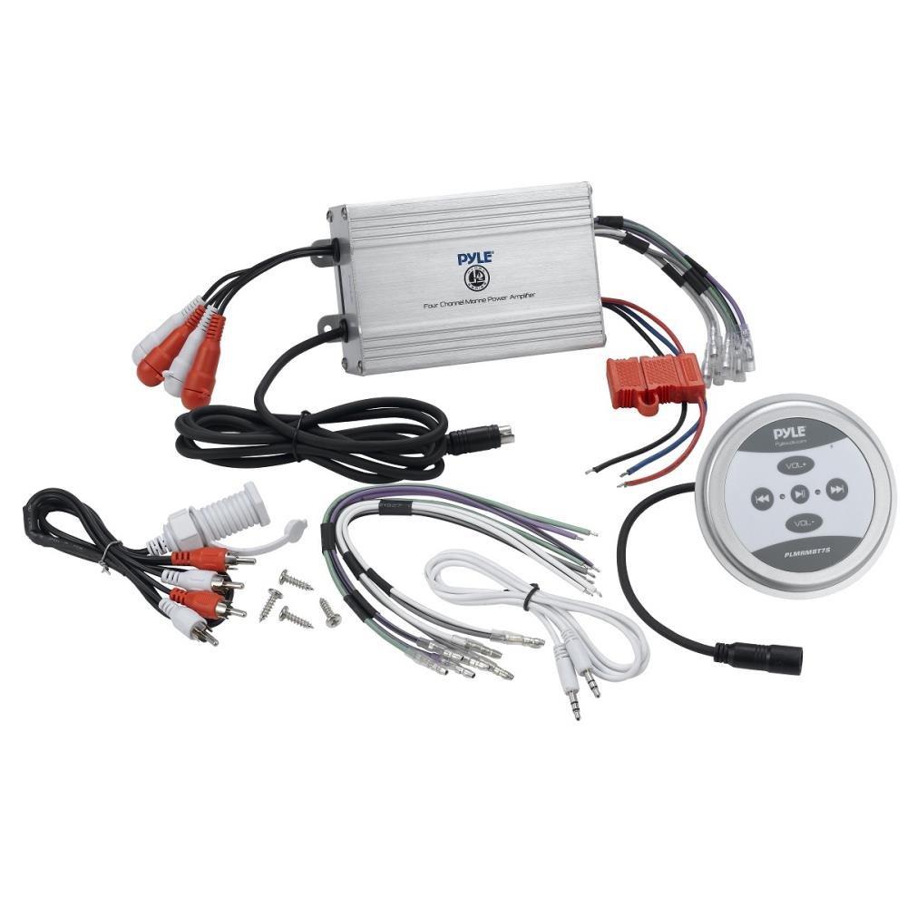Enrock Marine-Grade 50Ft 4 x Lanzar 400 Watts 5.25 2-Way White Marine Speakers 18-Gauge Speaker Wire Pyle Waterproof 1200 Watt Bluetooth 4-Channel Boat Yacht Amplifier System
