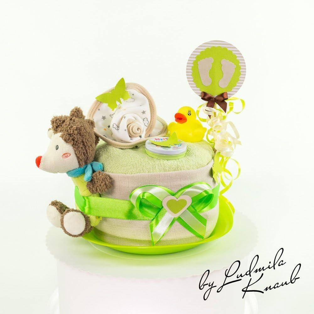 baby party////Cadeau Original et Pratique Pour B/éb/é bapt/ême G/âteau g/âteau//Pampers Couches  cadeau pour b/éb/é gar/çon dans un beau Marron//vert ton////Cadeau pour la naissance
