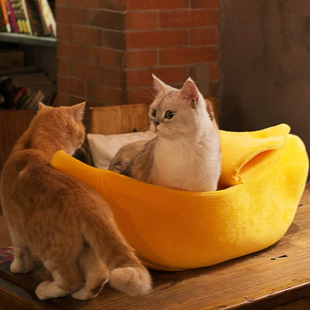 · Petgrow · Cute Banana Cat Bed House Large Size, Pet Bed Cave Soft Cat Cuddle Bed, Lovely Pet Supplies for Cats Kittens Bed, Yellow