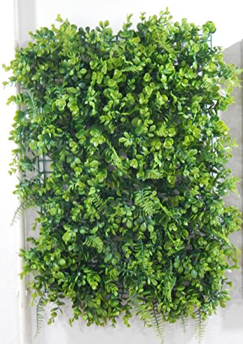 Artificial greenery topiary mixed Hedge screen with Fern, Vine, Ivy and Boxwood Panel 16'' x 24'' (Pack of 4) by Meide Group USA