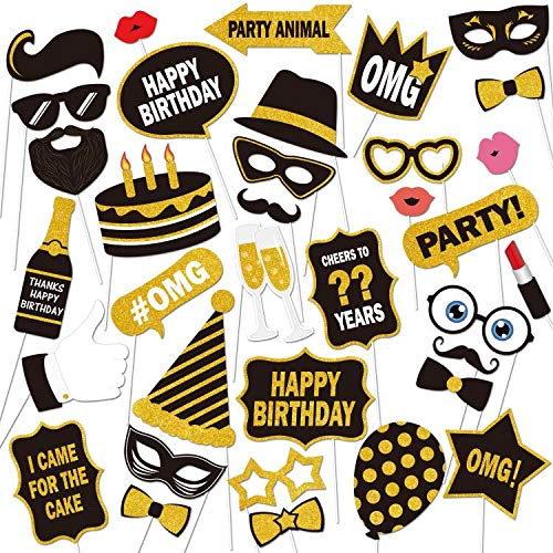 30th Birthday Photo Booth Props, Black and Gold Happy Birthday Decorations DIY Photo Booth Prop Kits with Stick for Birthday Party Favor Supplies (58 Counts) by Lucky Party -