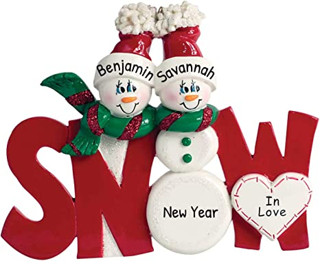 Personalized snow family christmas ornament