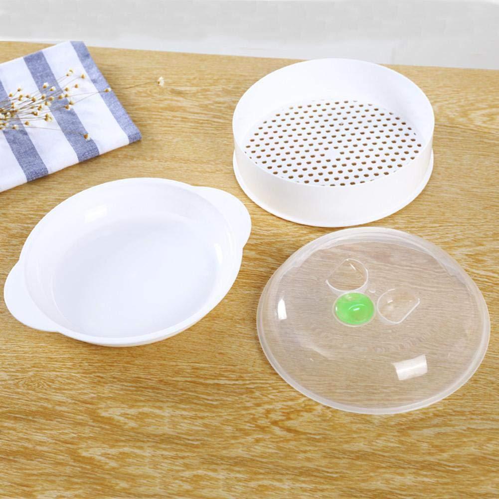 Adminitto88 Vaporizador de microondas de una Sola Capa Vaporizador de plástico Vapor de microondas con Herramienta de cocción con Tapa Tapa de Placa ...