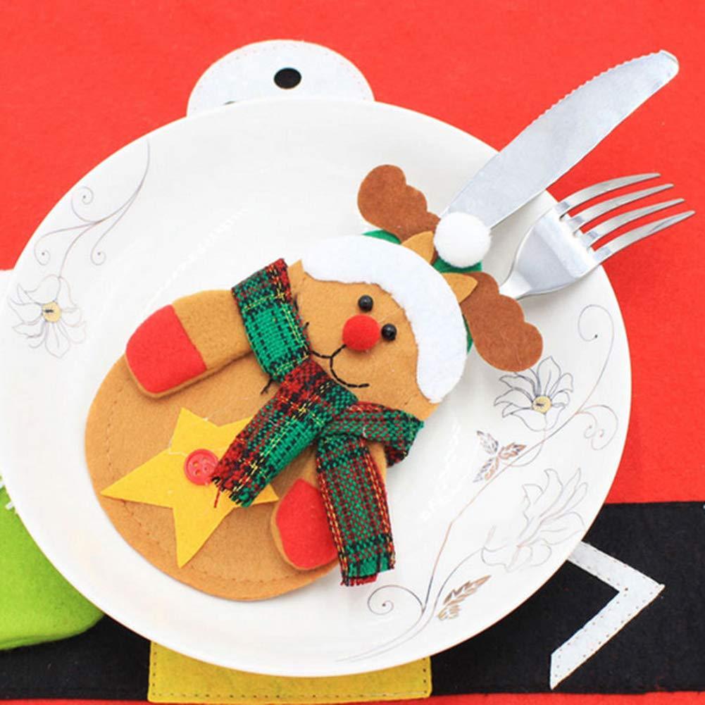 CHoppyWAVE Cutlery Pouch, Santa Snowman Cutlery Holder Utensil Bag Fork Knife Pocket Xmas Table Decor - Snowman by CHoppyWAVE (Image #9)