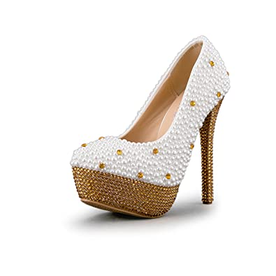 Sparrow Woman High Heels Gold Rhinestone Platforms Wedding Shoes White Pearl Bride Dress Shoes Pumps