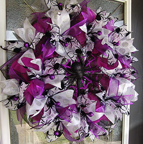 Violet Spider Halloween Deco Mesh Front Door Wreath, Porch Patio Yard Decoration, Indoor Outdoor Decor, Welcome Halloween Prop]()