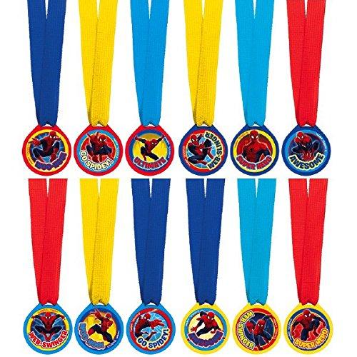 Amscan Amazing Spider-Man Birthday Party Mini Award Medals Favor (12 Piece), Multicolor, 13