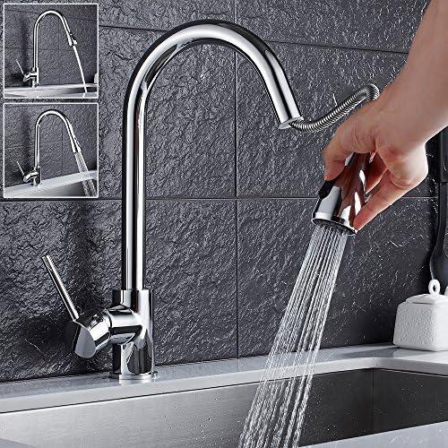 tropical キッチン蛇口 シャワー 混合水栓 キッチン用水栓 ハンドシャワー シングルレバー キッチン用混合栓シャワー 冷温切り替 クロム処理 真鍮/黄銅蛇口