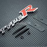 High performance parts New Type R Logo Grill Grille Emblem (Universal Fitment for All Vehicles) Red Black and Silver