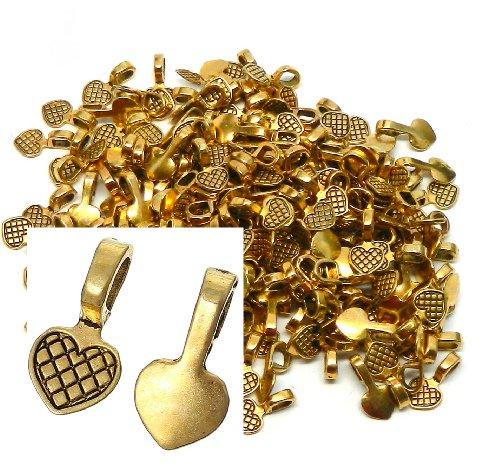 [해외]로큰롤 비즈 브랜드, 200 Blue on Bails 펜던트 옷걸이 골드 톤 도금 16x8mm/Rockin Beads Brand, 200 Glue on Heart Bails Pendant Hanger Gold Tone Plated 16x8mm