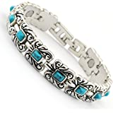 Wollet Jewelry Healthy Antique Style Blue Turquoise Magnetic Bracelets for Women