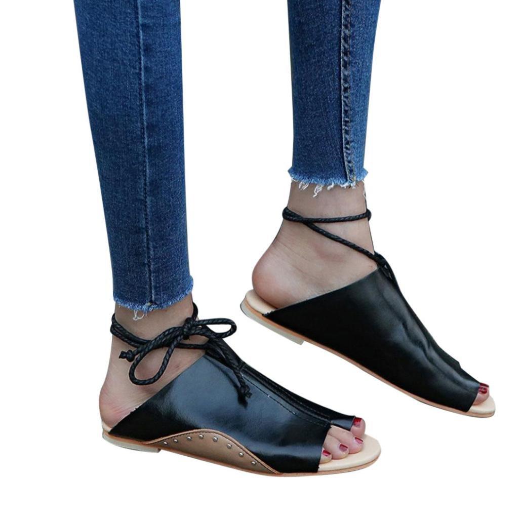 Sommer Sandalen,Resplend Frauen Sandalen Rouml;mersandalen mit Flachem Boden Mode Offene Knouml;chel Bandage Plattform Keile Schuhe Gladiator Casual Sandalen Flip-Flop Schuhe35(Asian35=EU34)|Schwarz