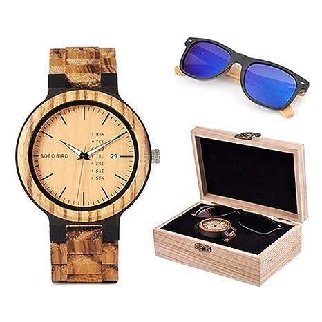 Amazon.com: LiBetyd - Juego de reloj de madera y gafas de ...