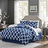 The Madison Park essentials Merritt complete bed and sheet set creates a simple yet chic look in your space. The fretwork design creates a modern look with its white design on a bold Navy base. This set is completely reversible to a white bas...