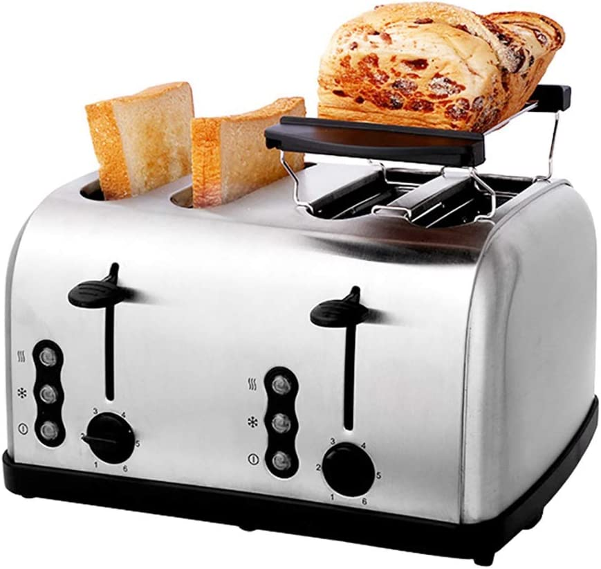 Toaster 4 Slice Toaster, Stainless Steel Bread Toast Breakfast Machine Toaster (with Baking Rack, 6 Bread Shade Settings, Defrost/Reheat/Cancel Function, Extra Wide Slots, Removable Crumb Tray, 1500W)
