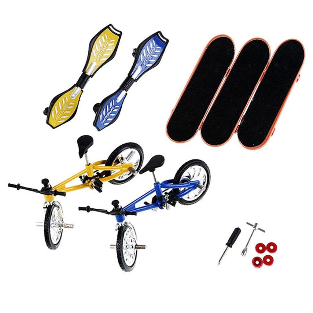 Shoresu 8 Pieces Tech Deck Finger Bike Bicycle And Skateboard Kids Children Wheel Toys Gifts