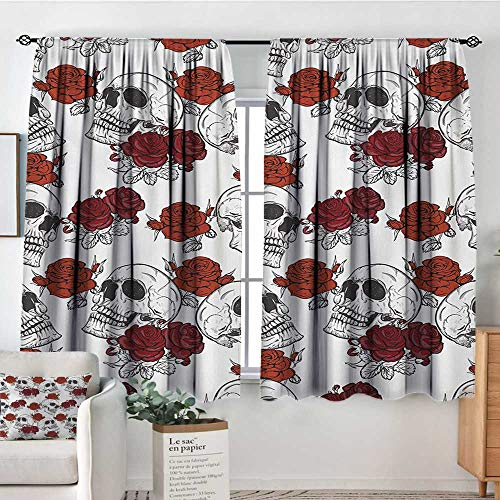 Mozenou Skull Custom Curtains Retro Gothic Dead Head Skeleton Figures with Roses Halloween Theme Spooky Trippy Romantic Customized Curtains 63