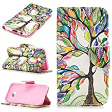 MOONCASE Galaxy A5 2017 Case, [Colorful Tree] Double Layer Shock Absorbing Premium Soft PU Leather Wallet Cover Flip Cases For Samsung Galaxy A5 2017