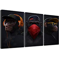 Three Wise Monkey Canvas Wall Art, Modern Funny Thinking Monkey, Canvas Painting Poster for Living Room Home Decor 3…
