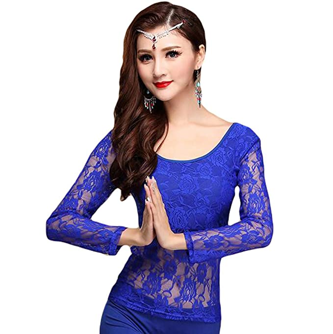c845708a35d16 YiJee Women Belly Dancing Costume Tops Belly Dance Lace Blouse   Amazon.co.uk  Clothing