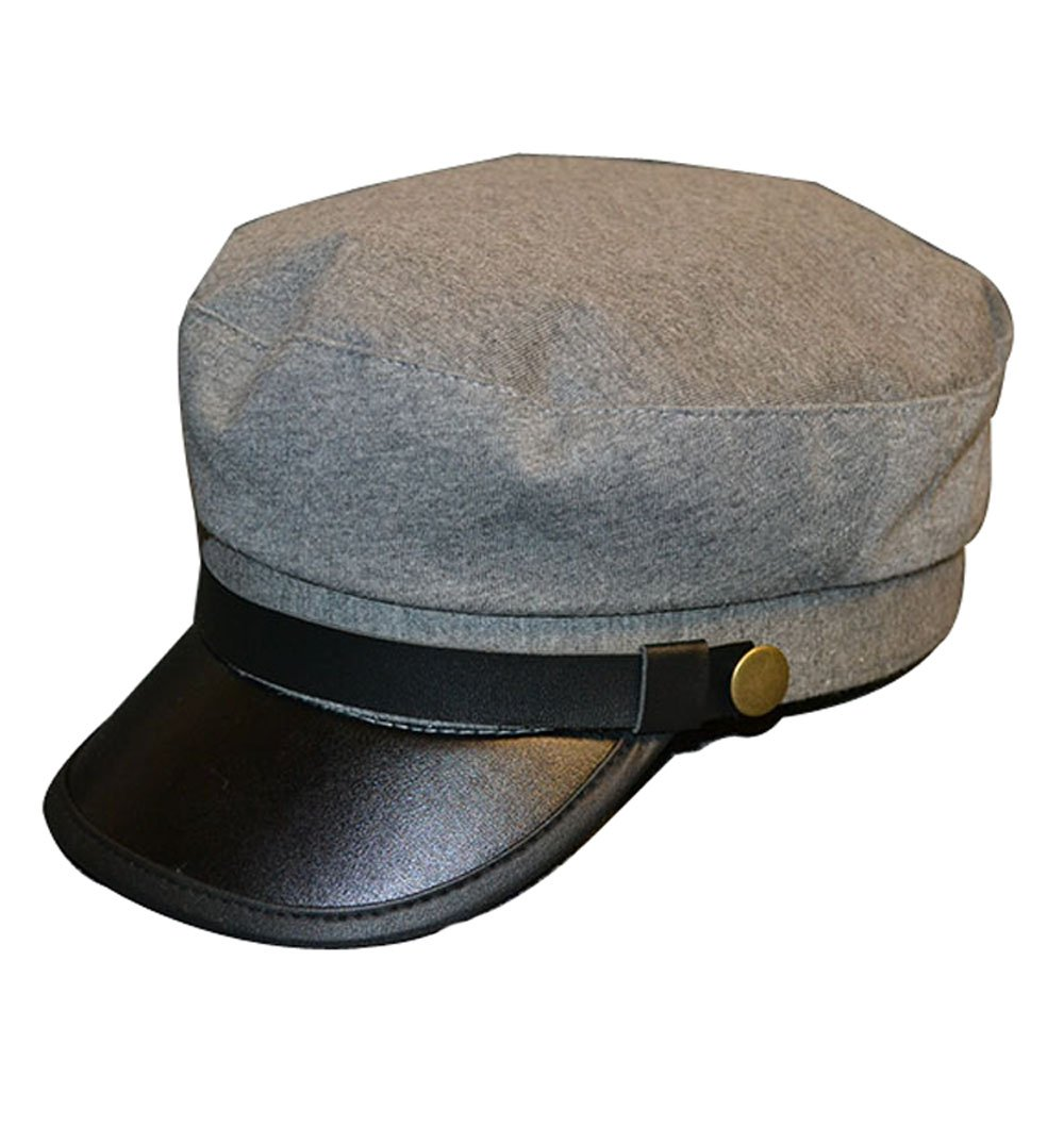 Clecibor Vintage PU Flat Top Army Baseball Cap Unisex Fisherman Sailor Hat Military Navy Hat, Grey