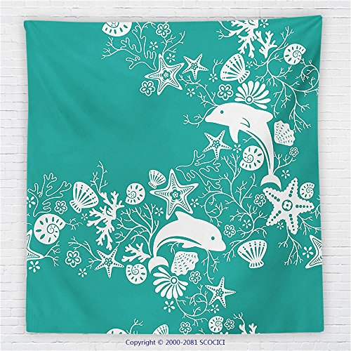 59 x 59 Inches Sea Animals Decor Fleece Throw Blanket Dolphins and Flowers Sea Floral Pattern Starfish Coral Seashell Wallpaper Blanket Usa Wallpaper Blanket