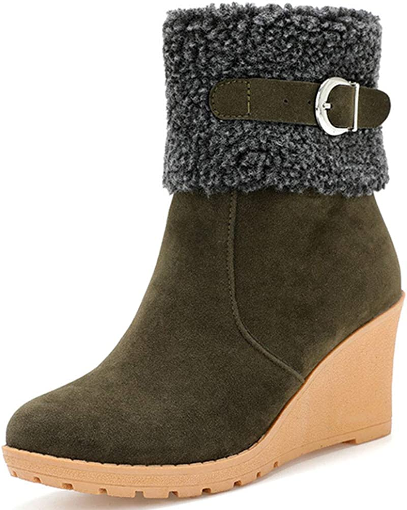 Vimisaoi Womens Suede Warm Mid Block Heels Slip On Solid Color Mid Calf Snow Boots