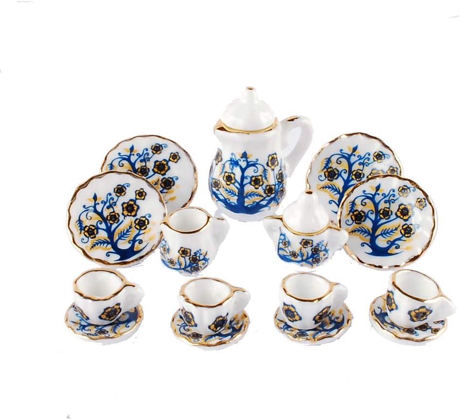NW 1 Set 15 Pieces 1:12 Ceramics Tea Cup Set Lovely Dollhouse Decoration Set Dollhouse Kitchen Accessories (#18)
