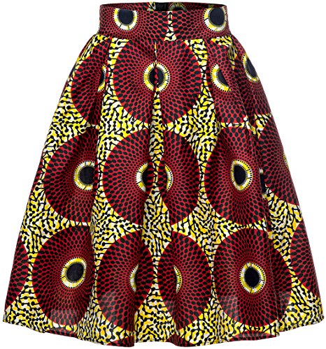 Shenbolen Women African Traditional Costume Flower Print Casual Dashiki Skirt (XX-Large, E) by Shenbolen