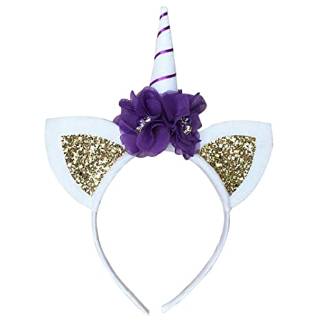 TOYMYTOY Fascia unicorno dei giocattoli accessori capelli con Corno  orecchie fiore costume di Carnevale compleanno Halloween 4e6e35d50e1d