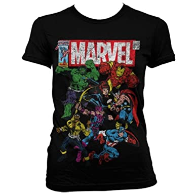 Marvel Official Womens Ladies Comics Multi Character Distressed Fitted T- Shirt  Amazon.co.uk  Clothing c8f14bf85