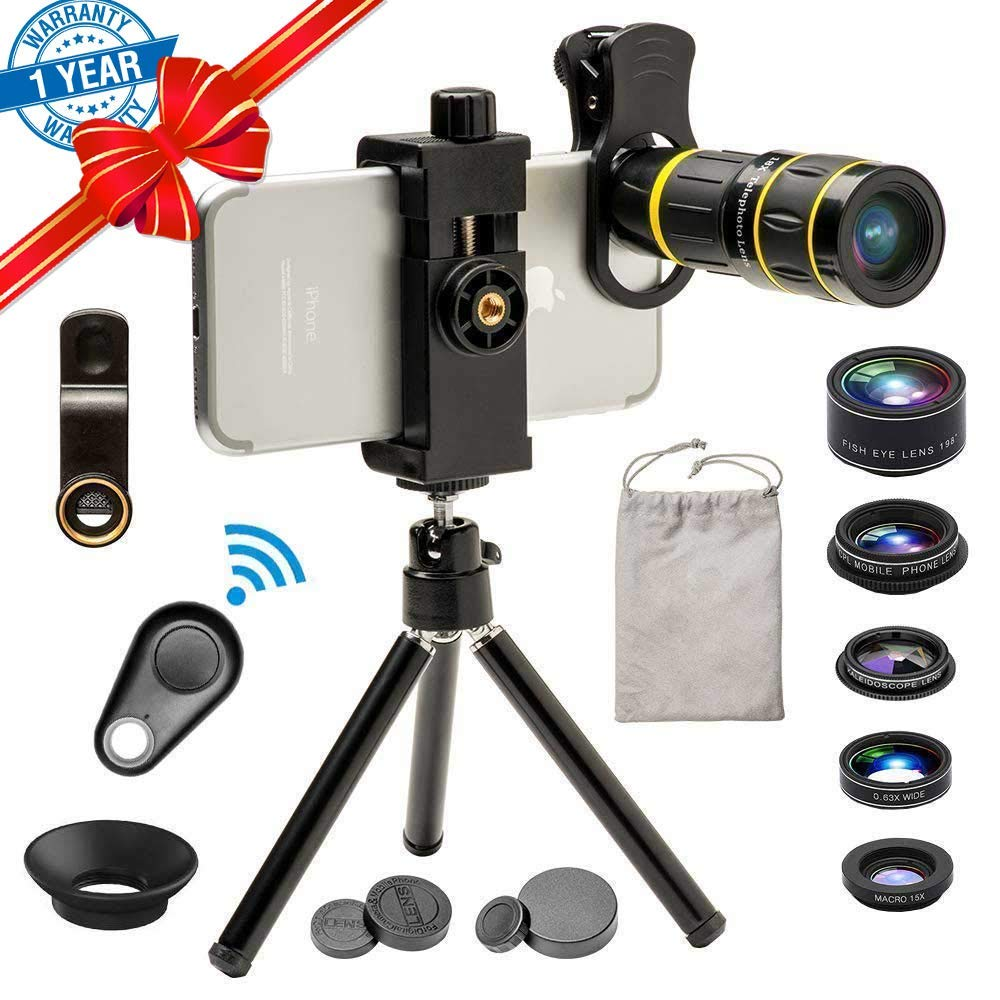 Phone Camera Lens, SEVENKA 6 in 1 Cell Phone Lens Kit with 18X Telescope Lens, Fisheye, Macro, Wide Angle, Kaleidoscope, CPL Lens, Tripod and Shutter for iPhone X XS Max 8 7 6 Plus Samsung Android by SEVENKA