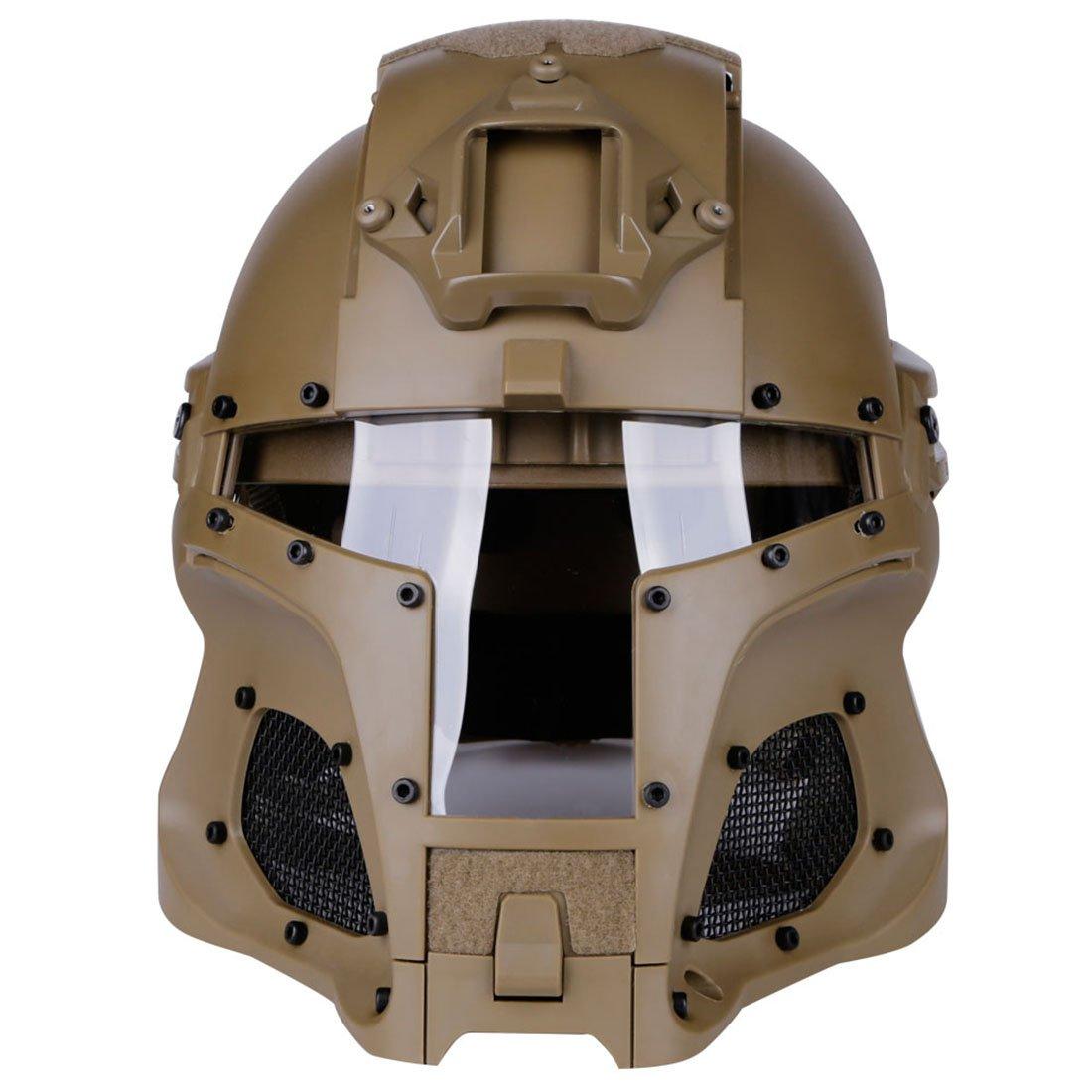 Reducción de precio MRKE Completa Tactico Airsoft Mascara Casco y Gafas Excelente Protección para Airsoft Nerf Paintball CS - para 14+ Años - para Circunferencia de la Cabeza 54-64CM (Tan)