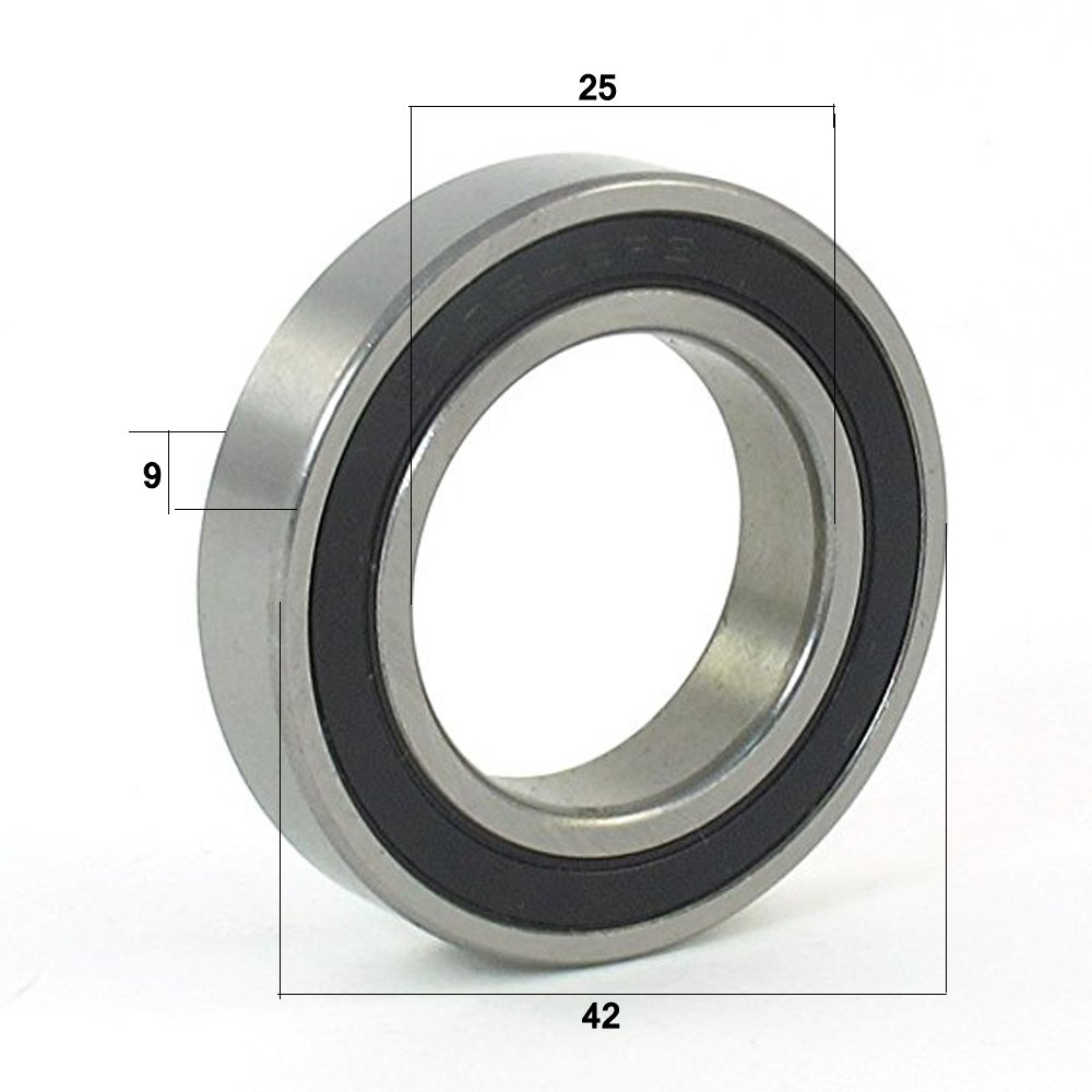 25x42x9 mm Metal Rubber Sealed Ball Bearing (Black) 6905-2RS,pack of 4 meiduolai Technology LTD.;