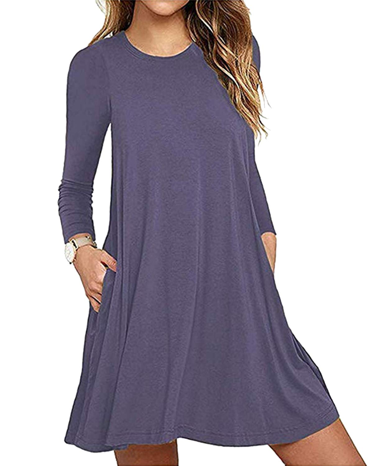 Deesdail Long Tunics for Women to Wear with Leggings, Ladies Crew Neck Raglan Sleeves Midi Dresses with Pockets Casual Flowy T-Shirt Dress