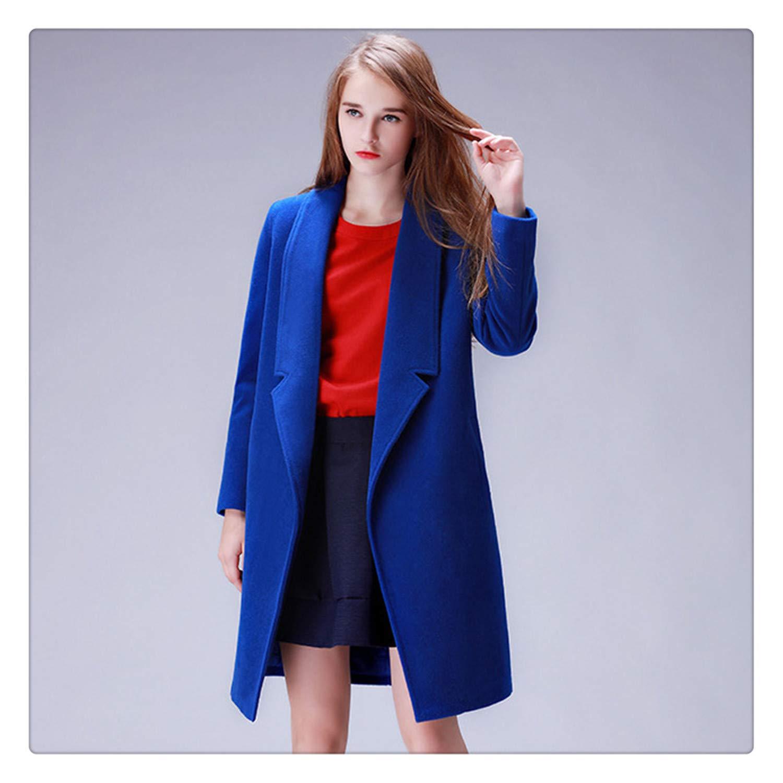 bluee FDRGH& Winter Coat Women Warm CottonPadded Wool Coat Long Women's Cashmere Coat