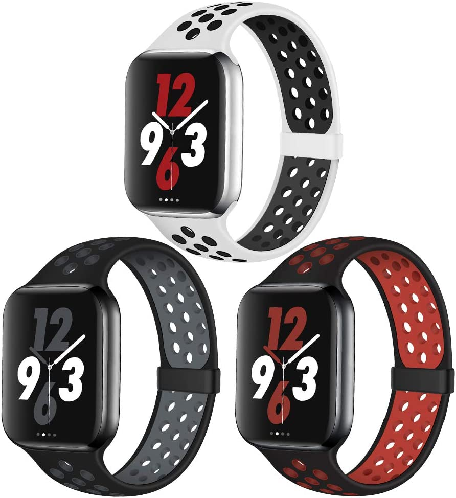 OriBear Compatible for Apple Watch Band 44mm 42mm, Breathable Sporty for iWatch Bands Series 5/4/3/2/1, Various styles and colors for Women and Men(M/L,3 Pack B)