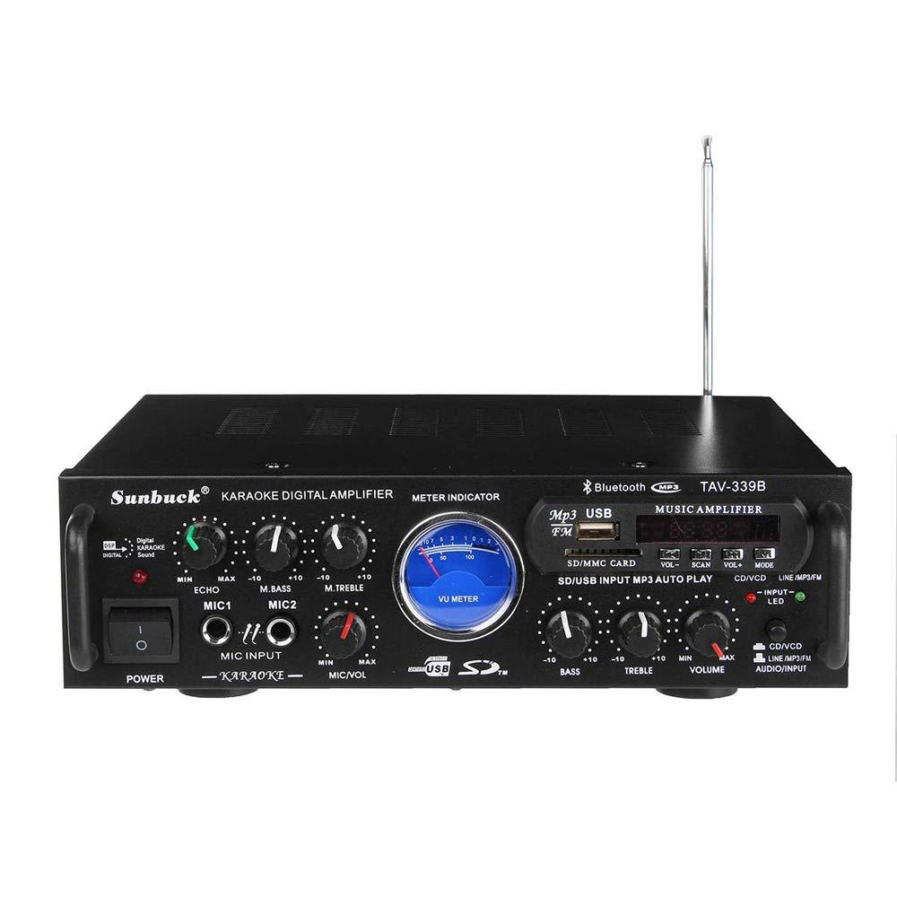 Wireless Bluetooth Karaoke Amplifier - 200 Watts Dual Channel Home Audio PA Receiver System 2 Mics Input, FM, USB,SD UV Meter-for Speaker iPhone-Sunbuck TAV339BT.