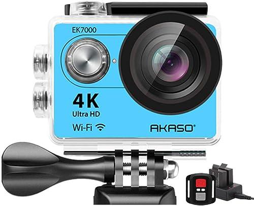 AKASO 4K Wi-Fi Sports Action Camera Ultra HD Waterproof DV Camcorder 12MP 170 Degree Wide Angle LCD Screen Remote, Royal Blue EK7000BL