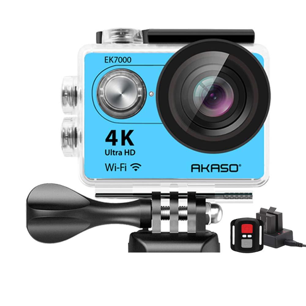 AKASO 4K Wi-Fi Sports Action Camera Ultra HD Waterproof DV Camcorder 12MP 170 Degree Wide Angle LCD Screen/Remote, Royal Blue (EK7000BL) by AKASO
