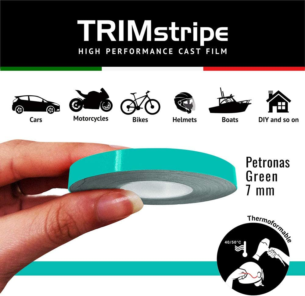 Color Verde petr/ón 4R Quattroerre.it 10485 10485-Tiras Adhesivas para Coche 7 mm x 10 m