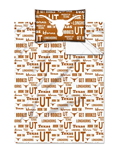The Northwest Company NCAA Texas Longhorns OFFICIAL College Twin Sheet Set – Anthem Series by The Northwest Company