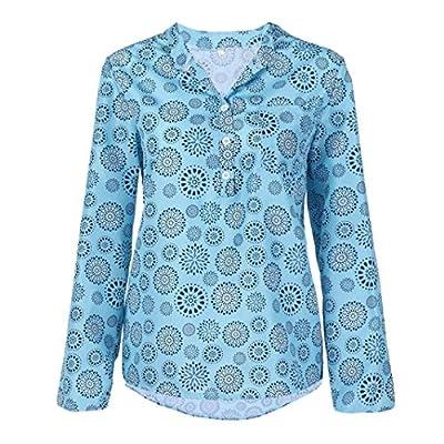 iDWZA Women Plus Size Print Long Sleeve Polka Dot Button Blouse Pullover Tops Shirt