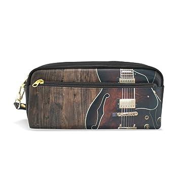 Estuche de madera para lápices con diseño de guitarra, gran ...