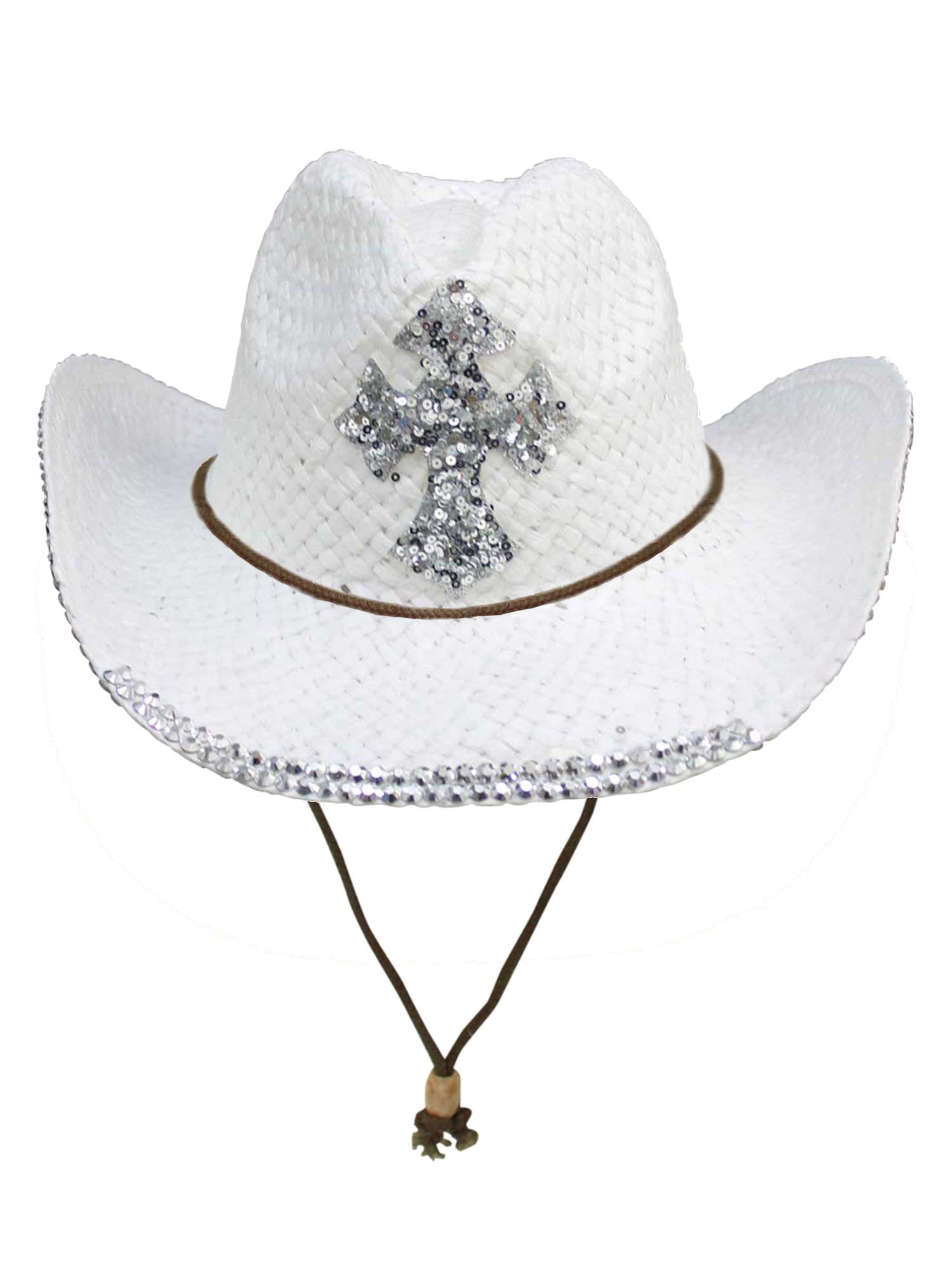 White Straw Cowboy Hat with Sequin Cross