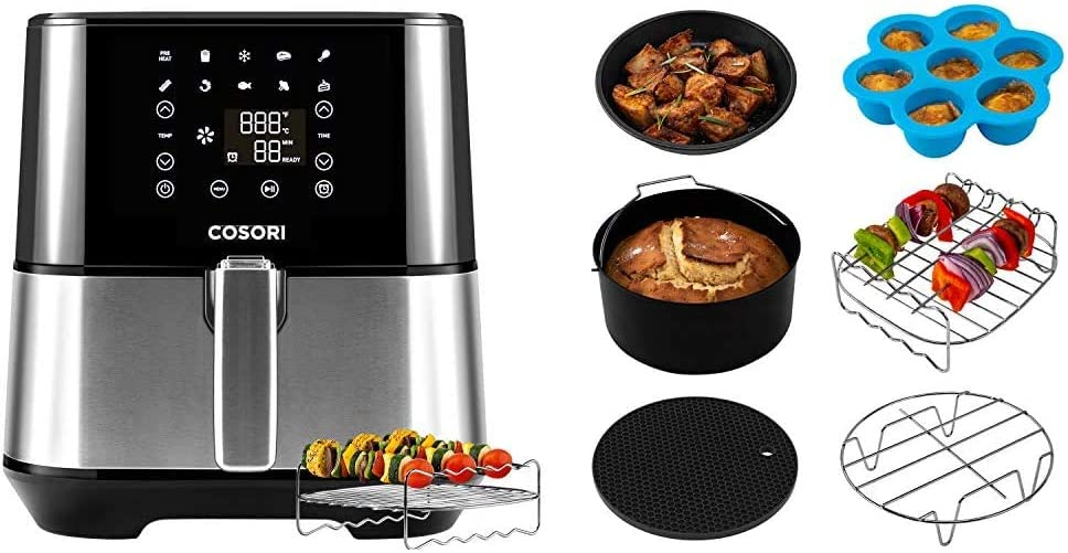 COSORI Air Fryer(100 Recipes,Rack & 4Skewers),Stainless Steel Electric Air Fryers Oven Oilless Cooker with 9 Cooking Presets & Air Fryer Accessories XL, Set of 6 Fit all 3.7Qt, 4.2Qt Air Fryer
