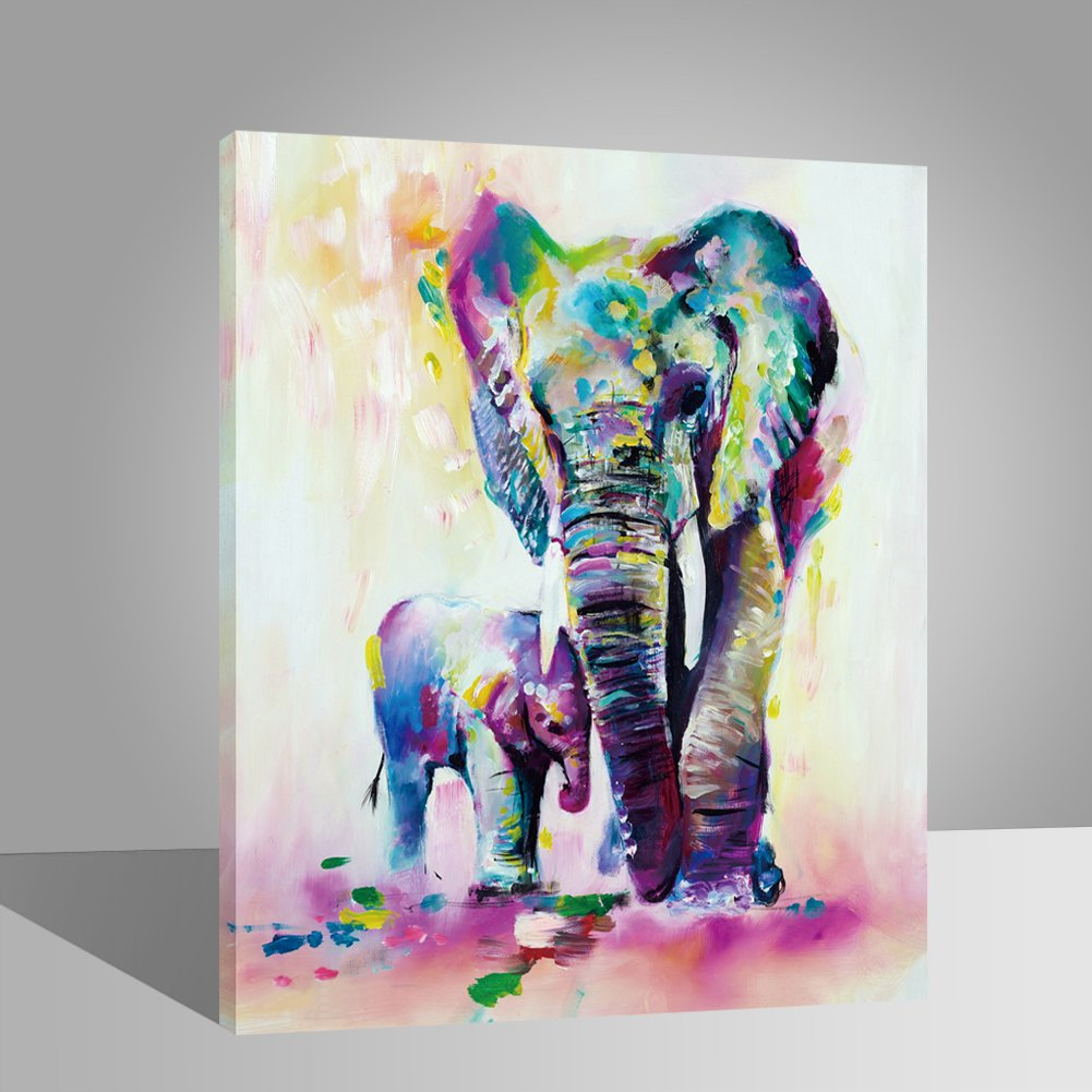 LIUDAO Paint by Numbers Kits for Adults Kids, DIY Number Painting - Colored Elephants Family 16x20inch -Animals Painting (Wooden Framed) by LIUDAO