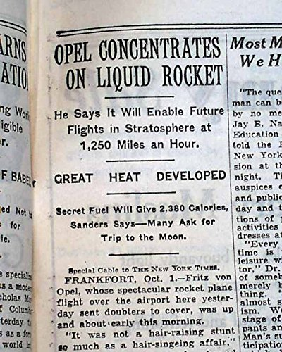 - Early ROCKET AIRPLANE Fritz von Opel Experimental Flights 1929 Old NYC Newspaper THE NEW YORK TIMES, October 2, 1929