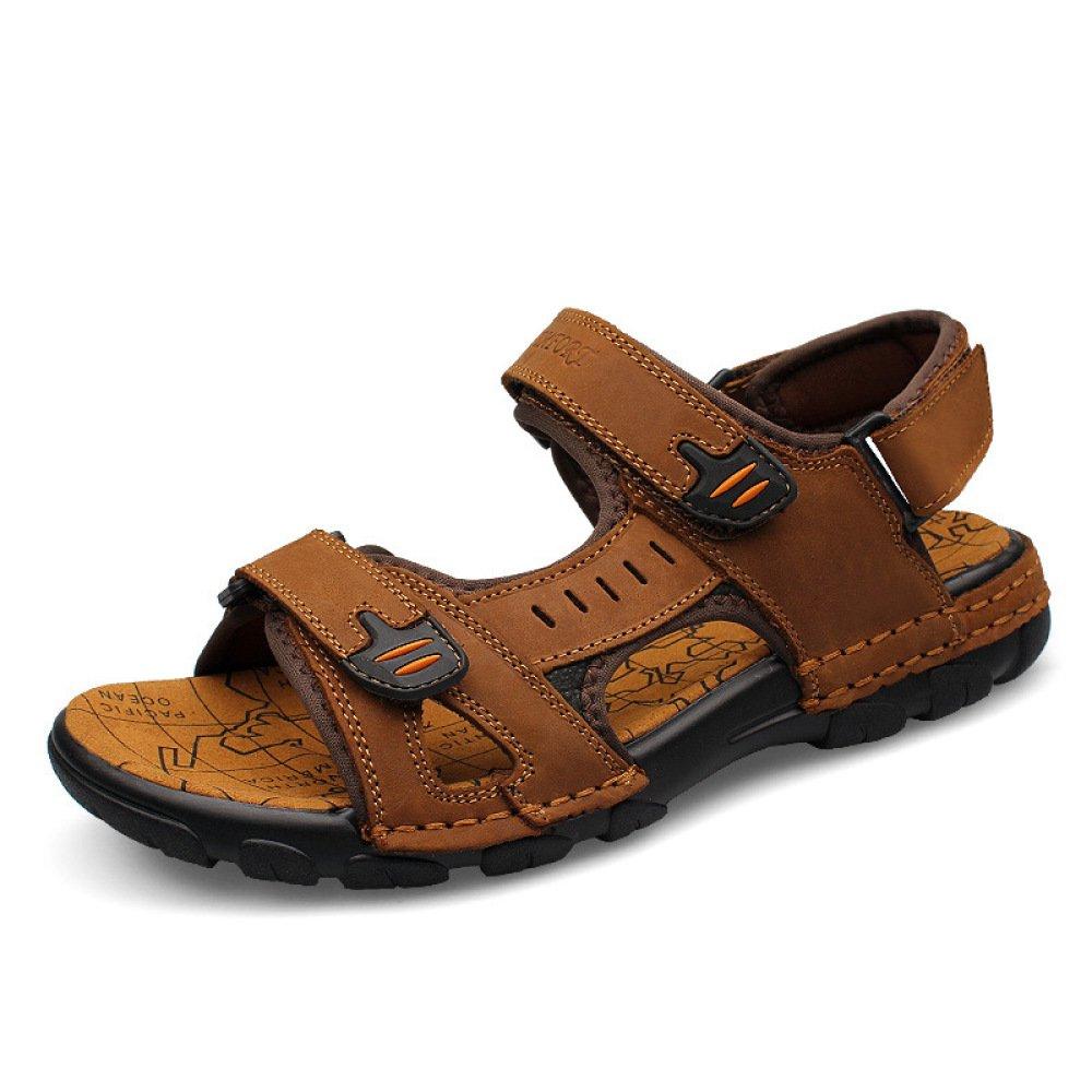 Sandalias De Playa Al Aire Libre para Hombre Sandalias De Cuero para Caminar Casual Sandalias De Velcro Marrón Claro Deportivo 46 EU Brown